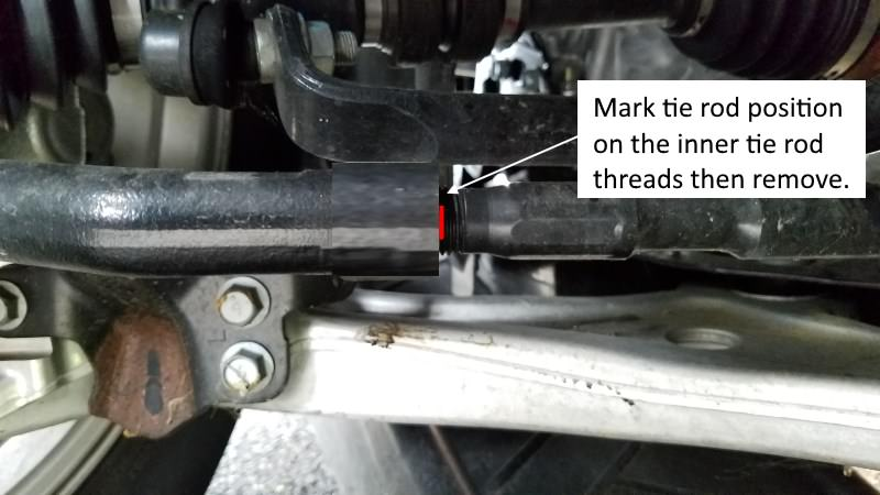 Mark BMW  3-Series tie rod before removal