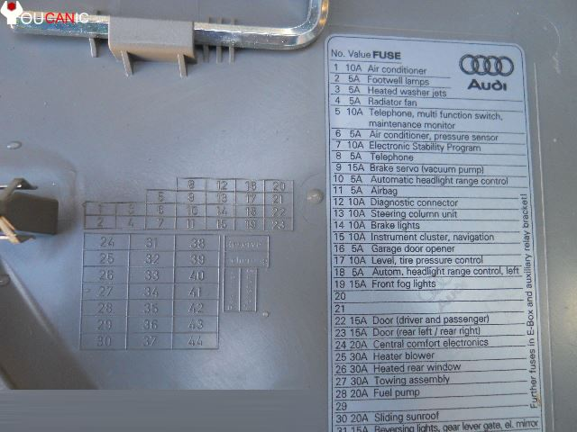 audi a4 b7 2004 2005 2006 2007 2008 fuses fuse box location list diagram audi a4 b7 2004 2008 Switchable Fuse at crackthecode.co