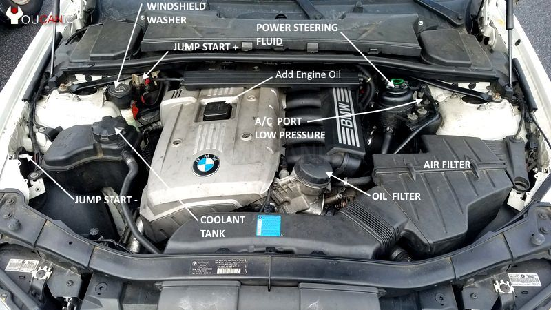 Location of engine air filter on BMW  3-Series