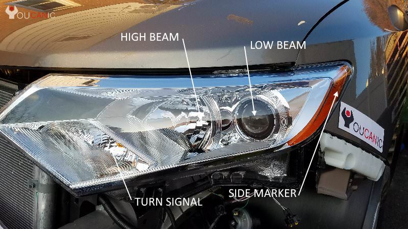 Location of high beam light bulb brights on Nissan Quest 2011 2012 2013 2014 2015 2016 2017